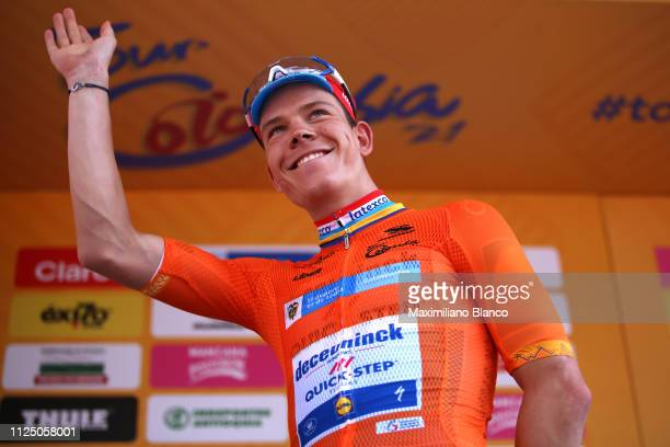 Podium / Bob Jungels of Luxembourg and Deceuninck-Quickstep Team Orange Leader Jersey / Celebration / Trophy / during the 2nd Tour of Colombia 2019,...