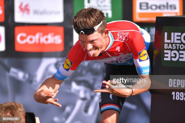 Podium / Bob Jungels of Luxembourg and Team QuickStep Floors / Celebration / during the104th LiegeBastogneLiege 2018 a 2585km race from Liege to...