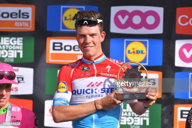 Podium / Bob Jungels of Luxembourg and Team Quick-Step Floors / Celebration / during the104th Liege-Bastogne-Liege 2018 a 258,5km race from Liege to...