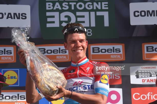 Podium / Bob Jungels of Luxembourg and Team QuickStep Floors / Celebration / Trophy / Ham / during the104th LiegeBastogneLiege 2018 a 2585km race...