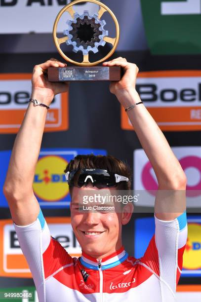 Podium / Bob Jungels of Luxembourg and Team QuickStep Floors / Celebration / Trophy / during the104th LiegeBastogneLiege 2018 a 2585km race from...