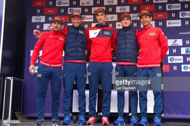Podium / Borut Bozic of Slovenia / Sonny Colbrelli of Italy / Kristijan Koren of Slovenia / Mark Padun of Ukraine / Meiyin Wang of China / Bahrain...