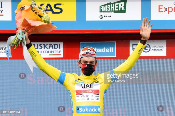 Podium / Brandon Mcnulty of United States and UAE Team Emirates Yellow Leader Jersey Celebration, during the 60th Itzulia-Vuelta Ciclista Pais Vasco...