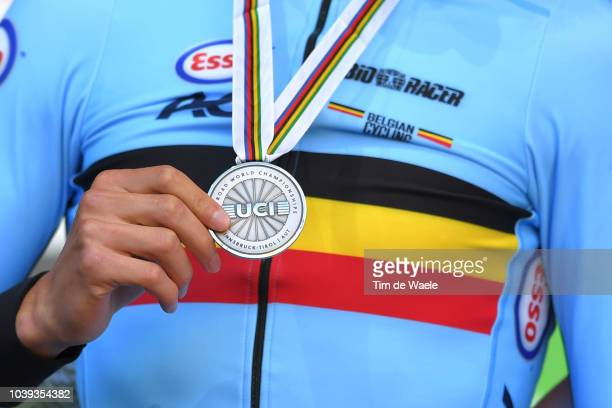 Podium / Brent Van Moer of Belgium / Silver Medal / Celebration / Detail view / during the Individual Time Trial Men Under 23 a 27,8km race from...