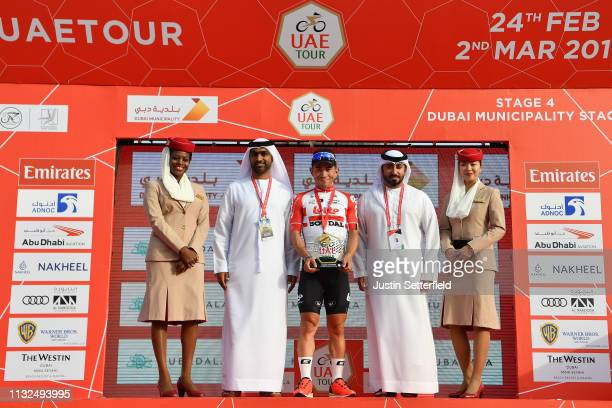 Podium / Caleb Ewan of Australia and Team Lotto Soudal / Celebration / Medal / Trophy / during the 5th UAE Tour 2019, Stage 4 a 197km stage from Palm...