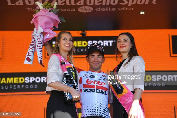 Podium / Caleb Ewan of Australia and Team Lotto Soudal / Celebration / Champagne / Miss / Hostess / during the 102nd Giro d'Italia 2019 Stage 11 a...
