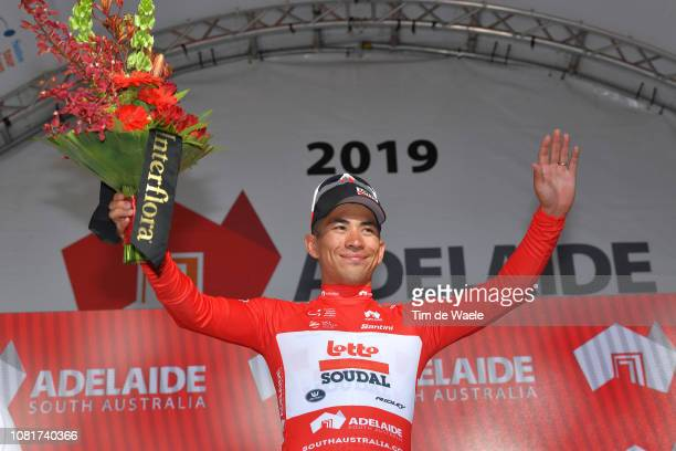 Podium / Caleb Ewan of Australia and Team Lotto Soudal / Celebration / during the 2019 Tour Down Under Classic a 1 hour + 1 lap of 1,7km race from...