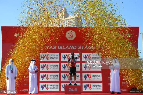 Podium / Caleb Ewan of Australia and Team Lotto Soudal Celebration, during the 3rd UAE Tour 2021, Stage 7 a 147km stage from Yas Mall to Abu Dhabi -...