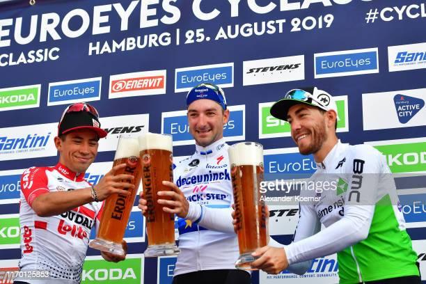 Podium / Caleb Ewan of Australia and Team Lotto Soudal / Elia Viviani of Italy and Team Deceuninck - Quick Step European Champion Jersey / Giacomo...