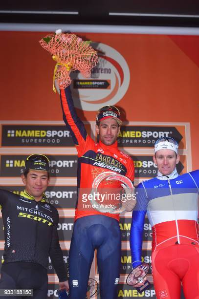 Podium / Caleb Ewan of Australia and Team MitcheltonScott / Vincenzo Nibali of Italy and Team BahrainMerida / Arnaud Demare of France and Team...
