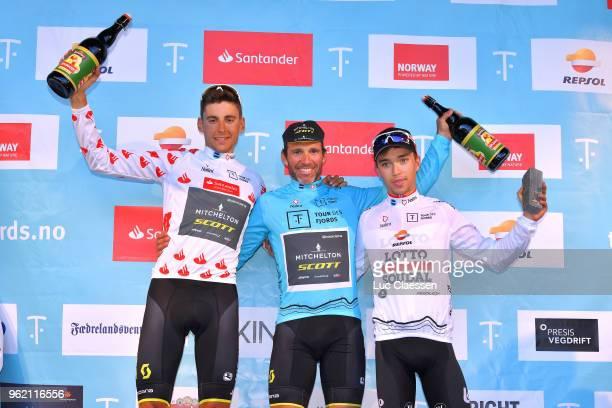Podium / Carlos Verona of Spain and Team MitcheltonScott Polka Dot Mountain Jersey / Michael Albasini of Switzerland and Team MitcheltonScott Blue...