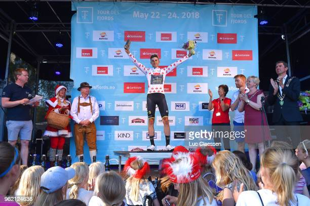 Podium / Carlos Verona of Spain and Team MitcheltonScott Polka Dot Mountain Jersey / Celebration / during the 11th Tour des Fjords 2018 Stage 3 a...