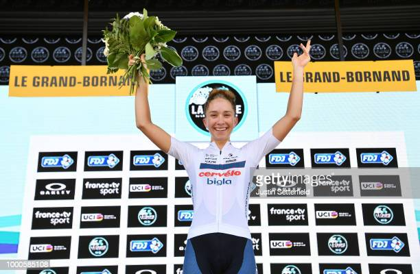 Podium / Cecilie Uttrup Ludwig of Denmark and Cervelo-Bigla Pro Cycling Team / during the 5th La Course 2018 - by Le Tour de France a 112,5km women's...