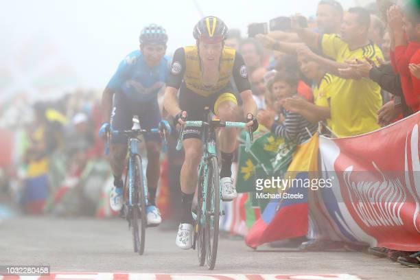 Podium / Celebration / during the 73rd Tour of Spain 2018, Stage 17 a 157km stage from Getxo to Alto del Balcon de Bizkaia 925m / La Vuelta / on...