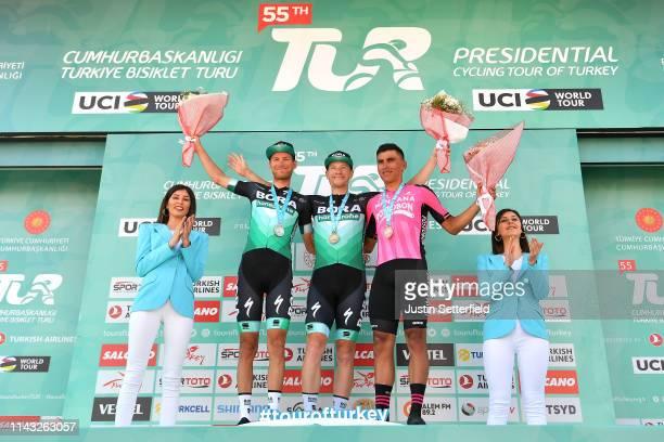 Podium / Celebration / Flowers / Sam Bennett of Ireland and Team Bora-Hansgrohe Blue Leader Jersey and Green Sprint Jersey / Felix Groaschartner of...