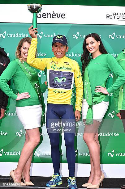 Podium celebration of Nairo Quintana of Columbia with his yellow leader jersey during stage 5 of the Tour de Romandie on May 1 2016 in Geneva...