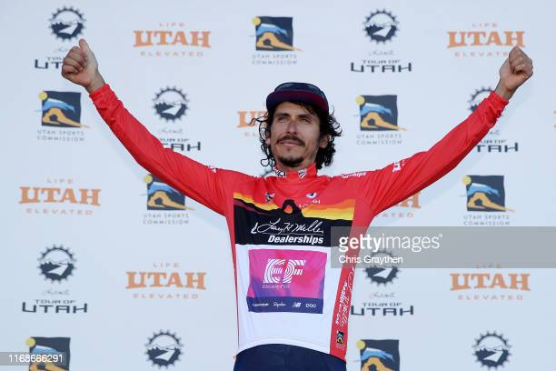 Podium / Celebration / Red Most Aggressive Rider Jersey / Lachlan Morton of Australia and Team EF Education First / during the 15th Larry H. Miller...