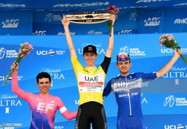 Podium / Celebration / Second place Sergio Andres Higuita Garcia of Colombia riding for EF Education First / Amgen Race Leader Jersey / Tadej Pogacar...