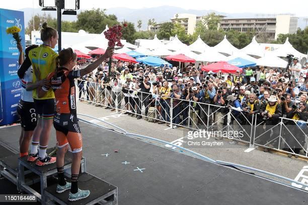 Podium / Celebration / third place Kasper Asgreen of Denmark and Team Deceuninck QuickStep / AMGEN Race Leader jersey and overall winner Tadej...