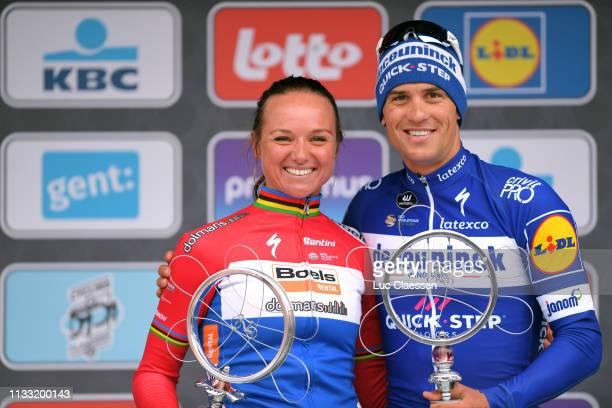Podium / Chantal Blaak of The Netherlands and Boels Dolmans Cycling Team / Zdenek Stybar of Czech Republic and Team Deceuninck Quick-Step /...