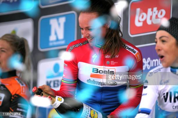 Podium / Chantal Blaak of The Netherlands and Boels Dolmans Cycling Team / Celebration / Champagne / during the 13th Omloop Het Nieuwsblad 2019,...