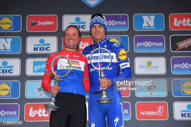 Podium / Chantal Blaak of The Netherlands and Boels Dolmans Cycling Team / Zdenek Stybar of Czech Republic and Team Deceuninck QuickStep /...