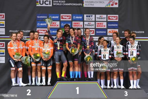 Podium / Chantal Blaak of The Netherlands / Karol-Ann Canuel of Canada / Amalie Dideriksen of Denmark / Christine Majerus of Luxembourg / Amy Pieters...