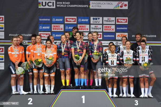 Podium / Chantal Blaak of The Netherlands / Karol-Ann Canuel of Canada / Amalie Dideriksen of Denmark / Christine Majerus of Luxembourg / Amy Pieters...