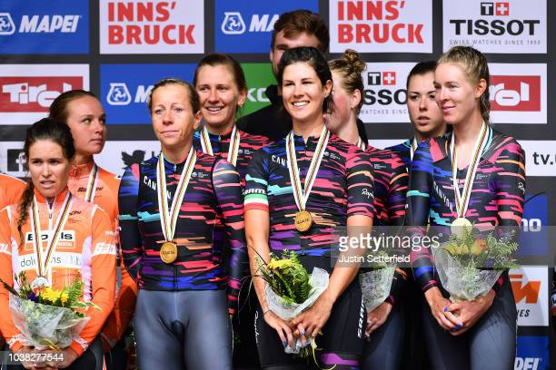 Podium / Chantal Blaak of The Netherlands / Karol-Ann Canuel of Canada / Amalie Dideriksen of Denmark / Boels Dolmans Cyclingteam of The Netherlands...