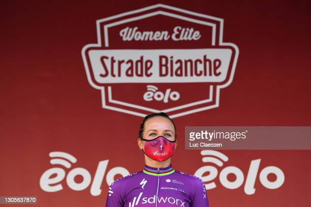 Podium / Chantal Van Den Broek - Blaak of The Netherlands and Team SD Worx Celebration, during the Eroica - 7th Strade Bianche 2021, Women's Elite a...