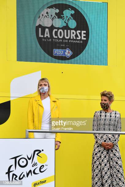 Podium / Charlene of Monaco, Princess of Monaco / Laura Tenoudji of France / during the 7th La Course 2020, by Le Tour de France a 96km race from...