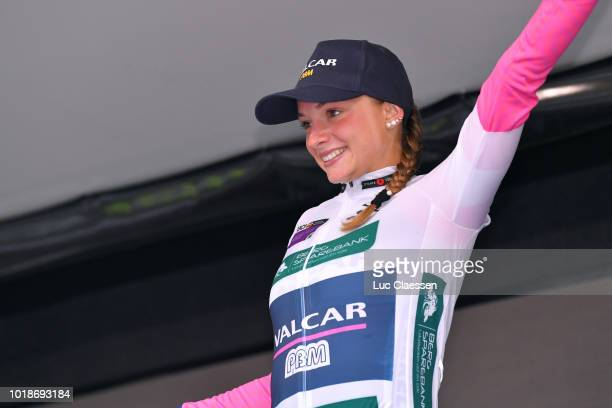 Podium / Chiara Consonni of Italy and Team Valcar PBM / White best young rider jersey Celebration / during the 4th Ladies Tour of Norway 2018 Stage 2...