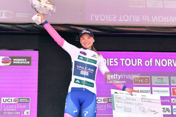 Podium / Chiara Consonni of Italy and Team Valcar PBM / White best young rider jersey Celebration / during the 4th Ladies Tour of Norway 2018, Stage...