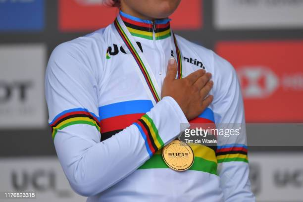 Podium / Chloe Dygert of The United States Gold Medal / Celebration / UCI Rainbow World Champion Jersey / Detail view / during the 92nd UCI Road...