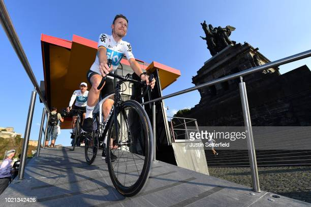 Podium / Christian Knees of Germany and Team Sky / during the 33rd Deutschland Tour 2018, Team Presentation / Deine Tour / on August 22, 2018 in...