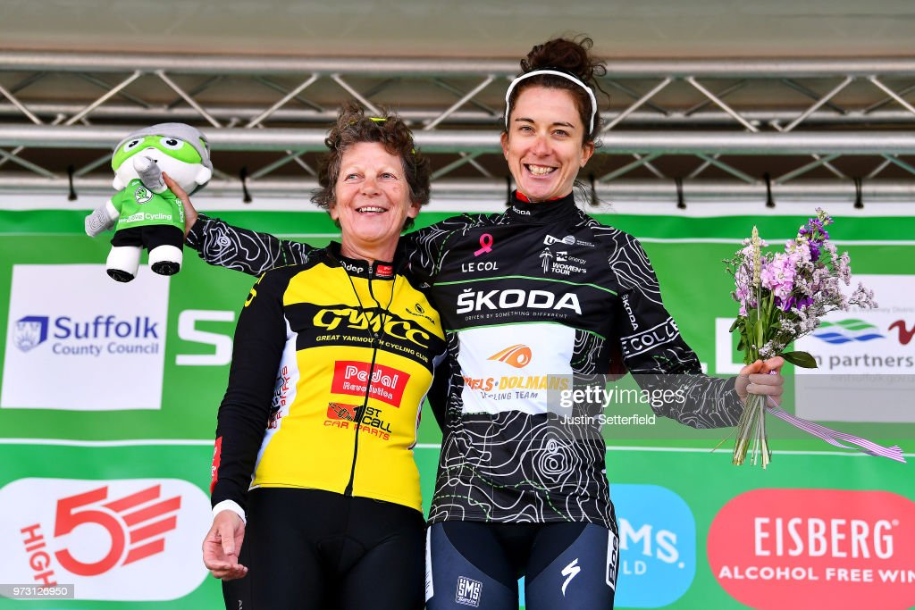 Podium / Christine Majerus of Luxembourg and Boels - Dolmans Cycling Team Black Mountains Jersey / Celebration / during the 5th OVO Energy Women's Tour 2018, Stage 1 a 130km stage from Framlingham to Southwold on June 13, 2018 in Southwold, England.