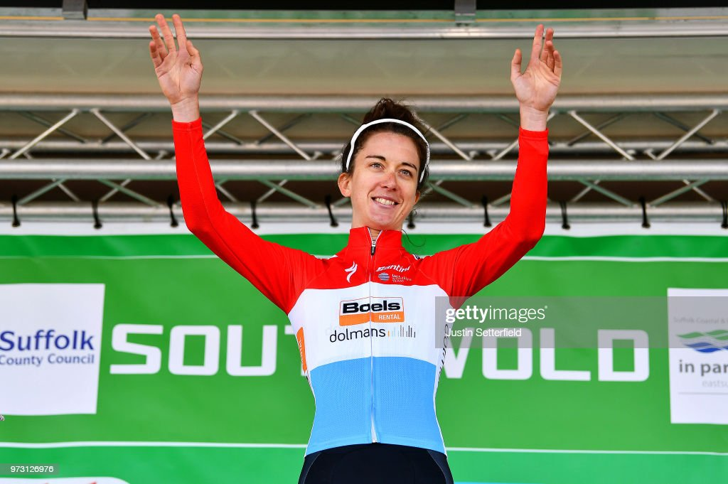 Podium / Christine Majerus of Luxembourg and Boels - Dolmans Cycling Team / Celebration / during the 5th OVO Energy Women's Tour 2018, Stage 1 a 130km stage from Framlingham to Southwold on June 13, 2018 in Southwold, England.
