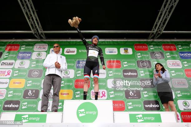 Podium / Christine Majerus of Luxembourg and Team Boels Dolmans Black SKODA Queen of the Mountains jersey / Celebration / during the 6th OVO Energy...