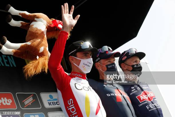 Podium / Christophe Laporte of France and Team Cofidis, Dylan Van Baarle of Netherlands and Team INEOS Grenadiers, Tim Merlier of Belgium and Team...