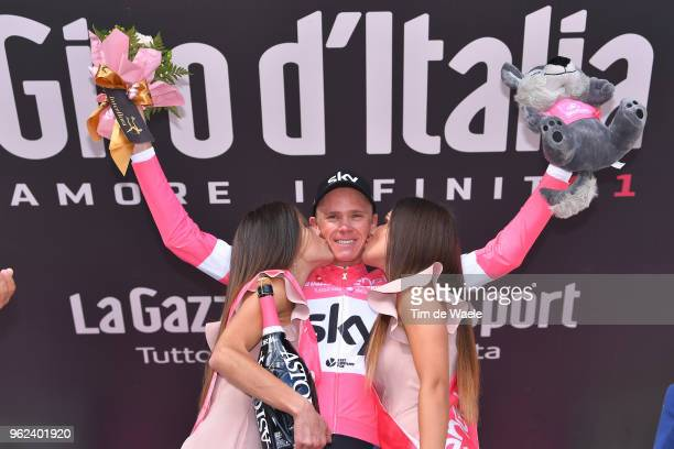 Podium / Christopher Froome of Great Britain and Team Sky Pink Leader Jersey / Celebration / during the 101st Tour of Italy 2018 Stage 19 a 185km...