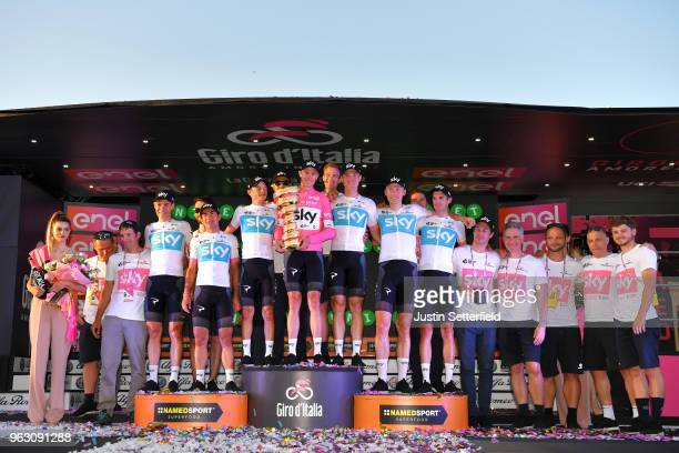 Podium / Christopher Froome of Great Britain Pink Leader Jersey / David de la Cruz of Spain / Kenny Elissonde of France / Sergio Luis Henao Montoya...