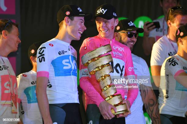 Podium / Christopher Froome of Great Britain Pink Leader Jersey / David de la Cruz of Spain and Team Sky / Celebration / Trofeo Senza Fine / during...