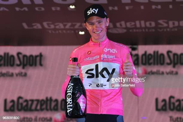 Podium / Christopher Froome of Great Britain Pink Leader Jersey / Celebration / Champagne / during the 101st Tour of Italy 2018 Stage 21 a 115km...