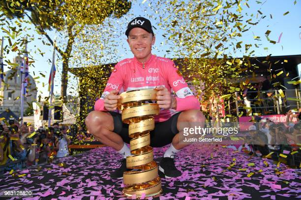 Podium / Christopher Froome of Great Britain Pink Leader Jersey / Celebration / Trophy / Trofeo Senza Fine / during the 101st Tour of Italy 2018,...