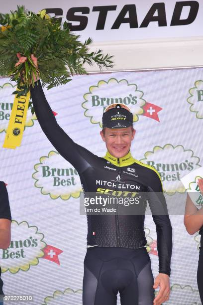 Podium / Christopher Juul Jensen of Denmark and Team Mitchelton-Scott / Celebration / during the 82nd Tour of Switzerland 2018, Stage 4 a 189,2km...