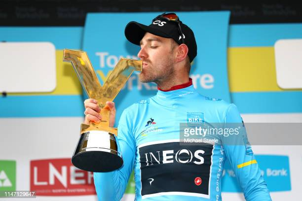Podium / Christopher Lawless of United Kingdom and Team INEOS Blue Leader Jersey / Celebration / Trophy / during the 5th Tour of Yorkshire 2019,...