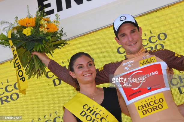 Podium / Claudio Imhof of Switzerland and Team Switzerland King of Mountain Jersey / Celebration / Miss / Hostess / Flowers / during the 83rd Tour of...