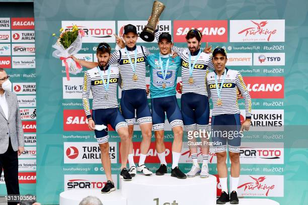 Podium / Clement Berthet of France, Eduard Michael Grosu of Romania, Delio Fernandez Cruz of Spain, Mauro Finetto of Italy, Mathias Le Turnier of...