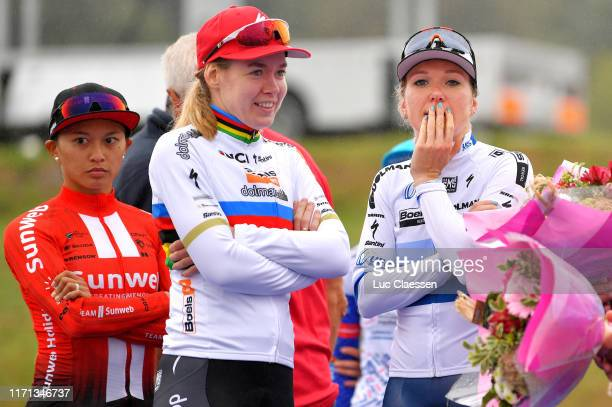 Podium / Coryn Rivera of The United States and Team Sunweb / Anna Van Der Breggen of The Netherlands and Boels Dolmans Cycling Team / Amy Pieters of...