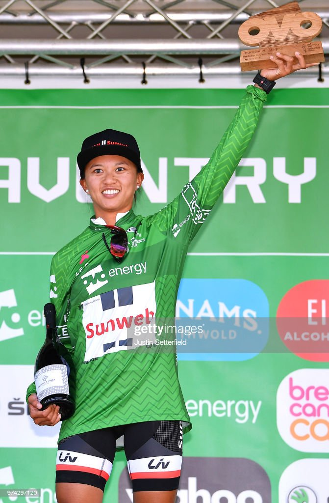 Podium / Coryn Rivera of The United States and Team Sunweb Green Leader Jersey / Celebration / Trophy / during the 5th OVO Energy Women's Tour 2018 / Stage 2 a 143,9km stage from Rushden to Daventry on June 14, 2018 in Daventry, England.